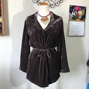 J. Jill Brown Velvet Elf Jacket bohemian luxe